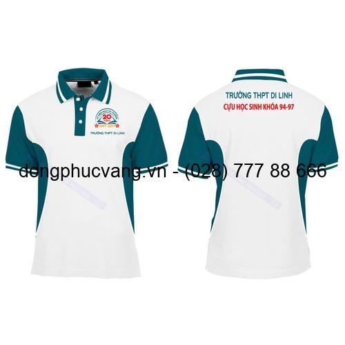 đồng phục trường học áo thun phối trắng xanh