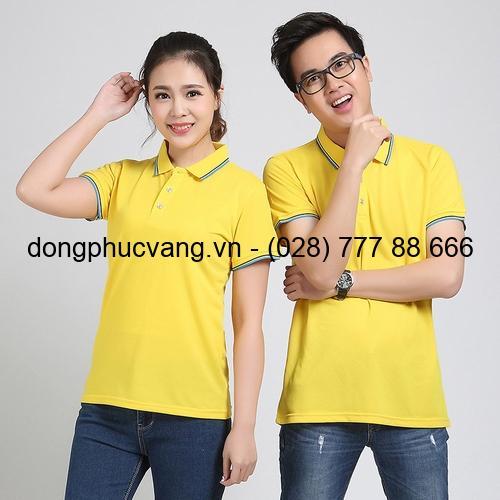áo thun vàng cổ trụ 2 sọc xanh