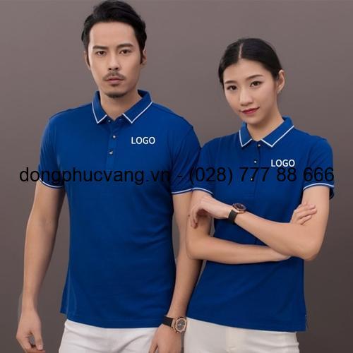đồng phục áo thun xanhthêu logo trắng cổ sọc trắng