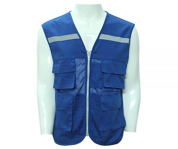 mẫu áo ghile bảo hộ màu xanh
