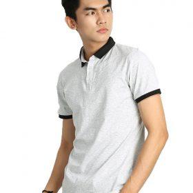 áo thun công sở màu trắng cổ viền đen
