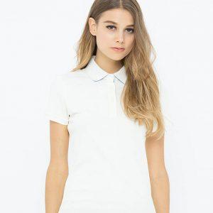 may áo thun polo nữ cổ bẻ màu trắng