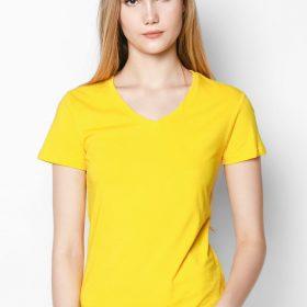 xưởng may áo thun đồng phục cổ tim màu vàng