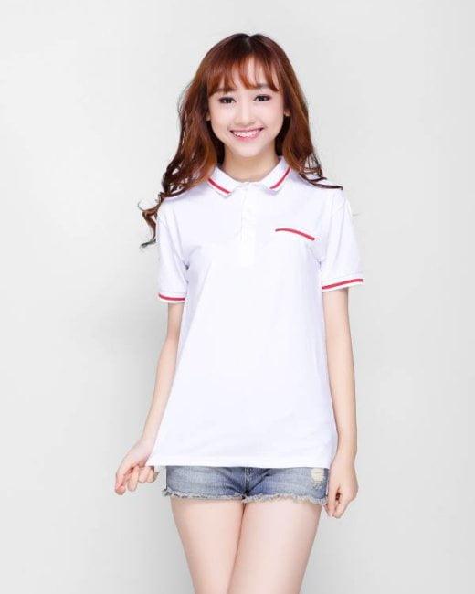 áo thun đồng phục polo trắng